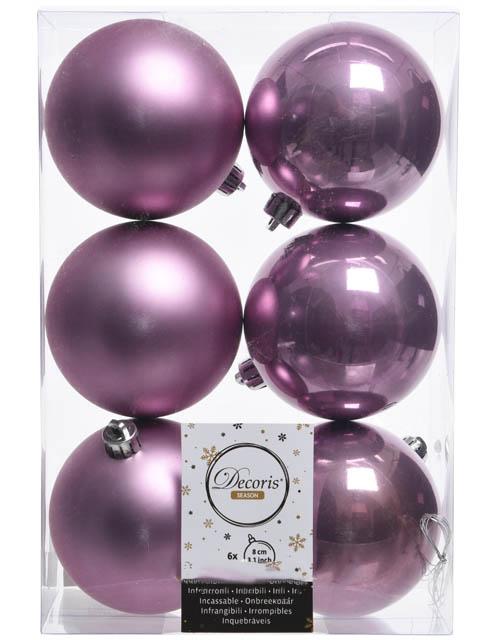 Украшение Kaemingk Набор шаров 80mm 6шт Lilac 022037