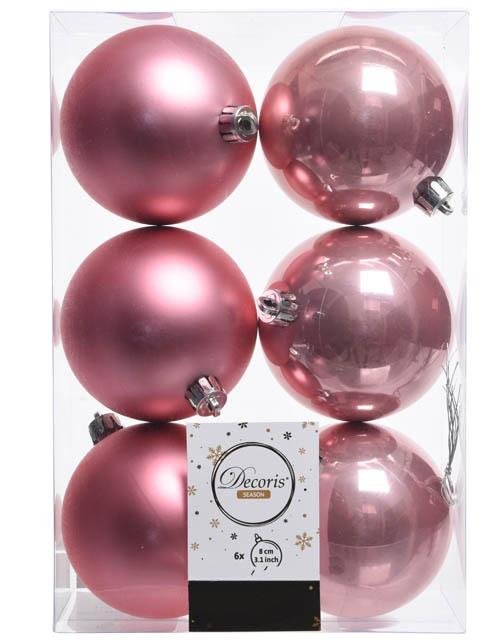 Украшение Kaemingk Набор шаров 80mm 6шт Pink 022033