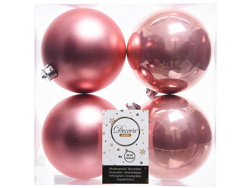 Украшение Kaemingk Набор шаров 100mm 4шт Pink 022246