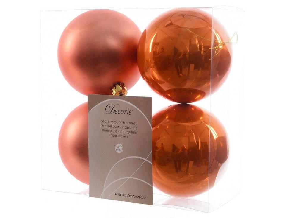 Украшение Kaemingk Набор шаров 100mm 4шт Orange 906435