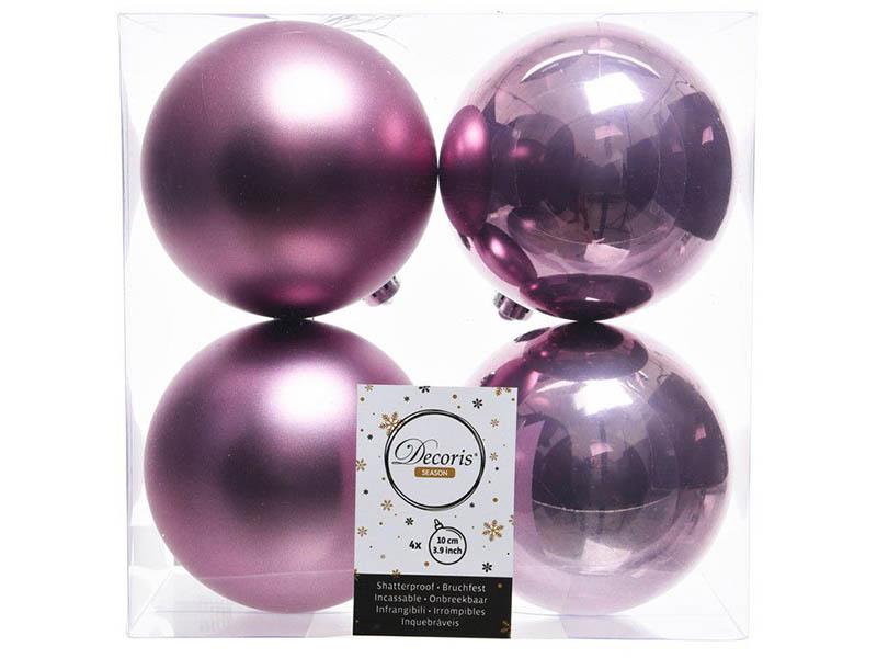 Украшение Kaemingk Набор шаров 100mm 4шт Lilac 022255