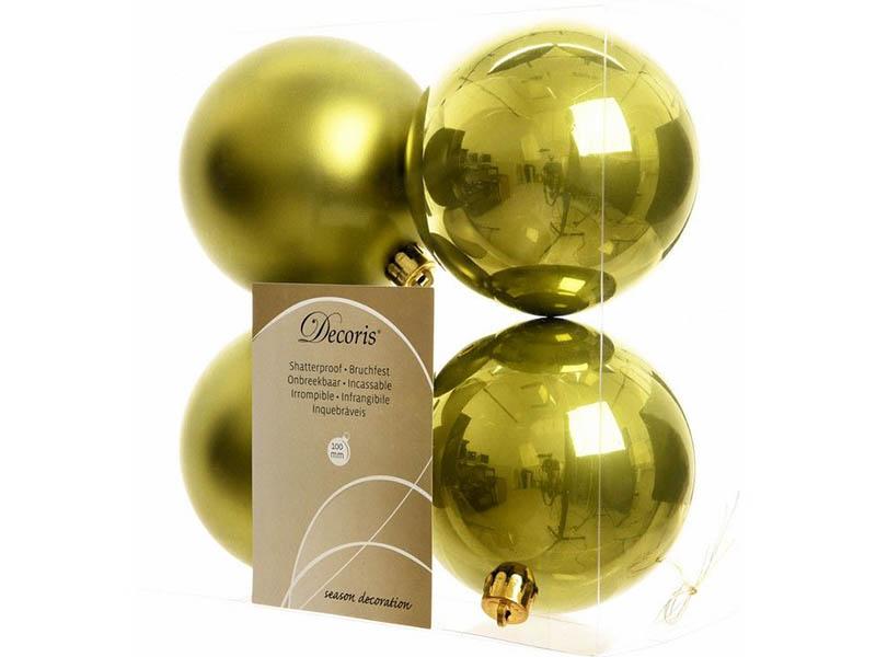 Украшение Kaemingk Набор шаров 100mm 4шт Olive 022188