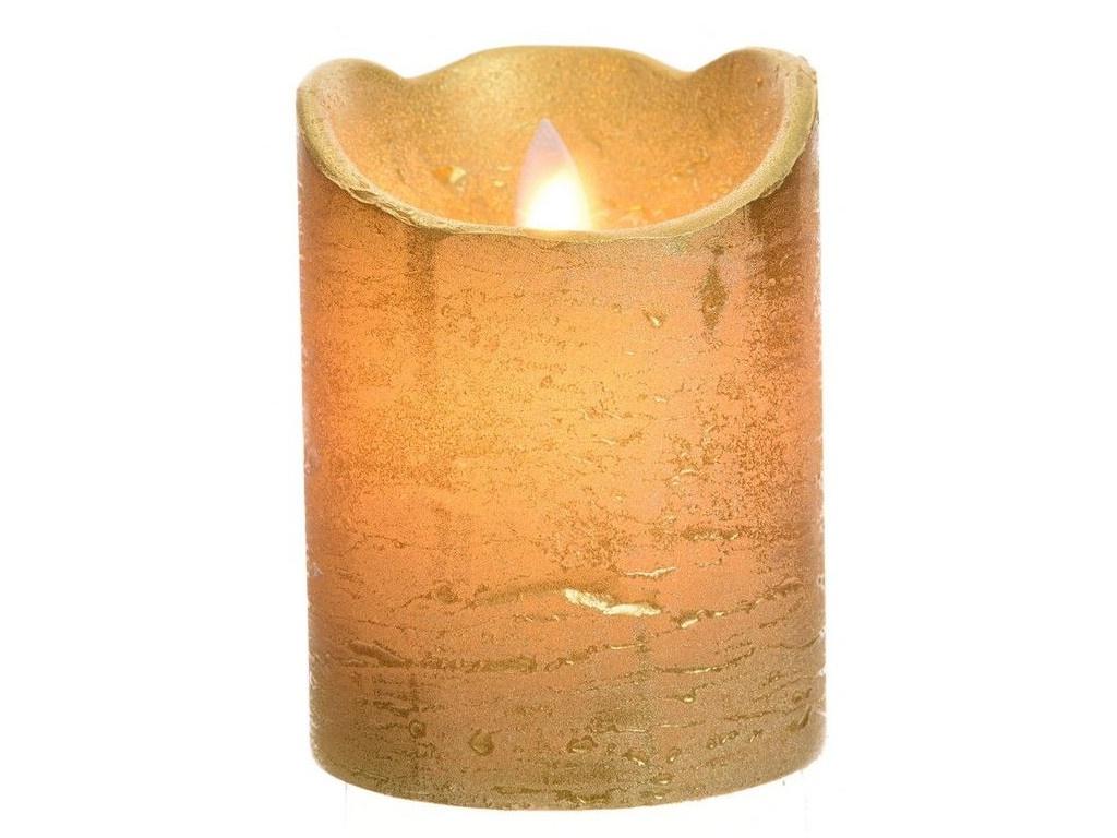 Светодиодная свеча Kaemingk Праздничная 7.5x10cm Gold 480617
