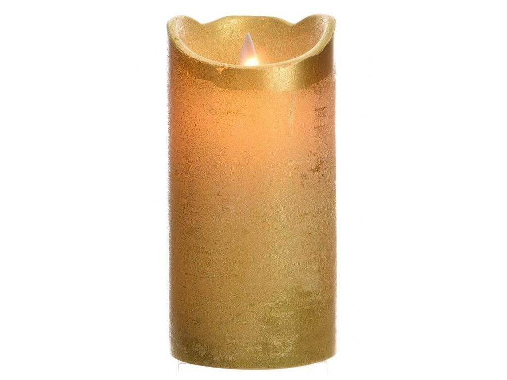 Светодиодная свеча Kaemingk Праздничная 7.5x15cm Gold 480603