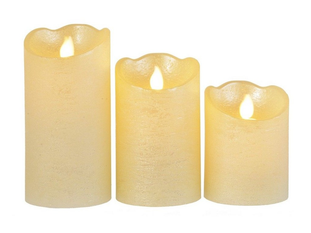 Светодиодная свеча Kaemingk Живое пламя 3шт Pearl 480012