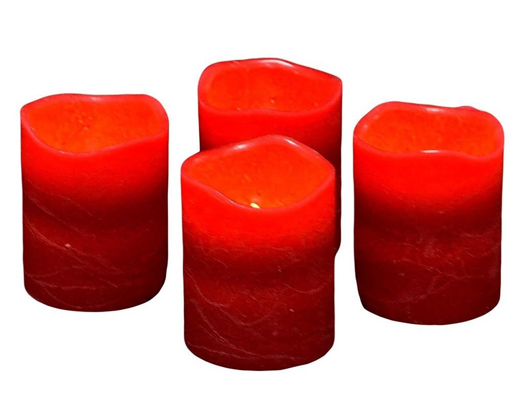 Светодиодная свеча Edelman Квартет 6.5х5cm 4шт Red 372649