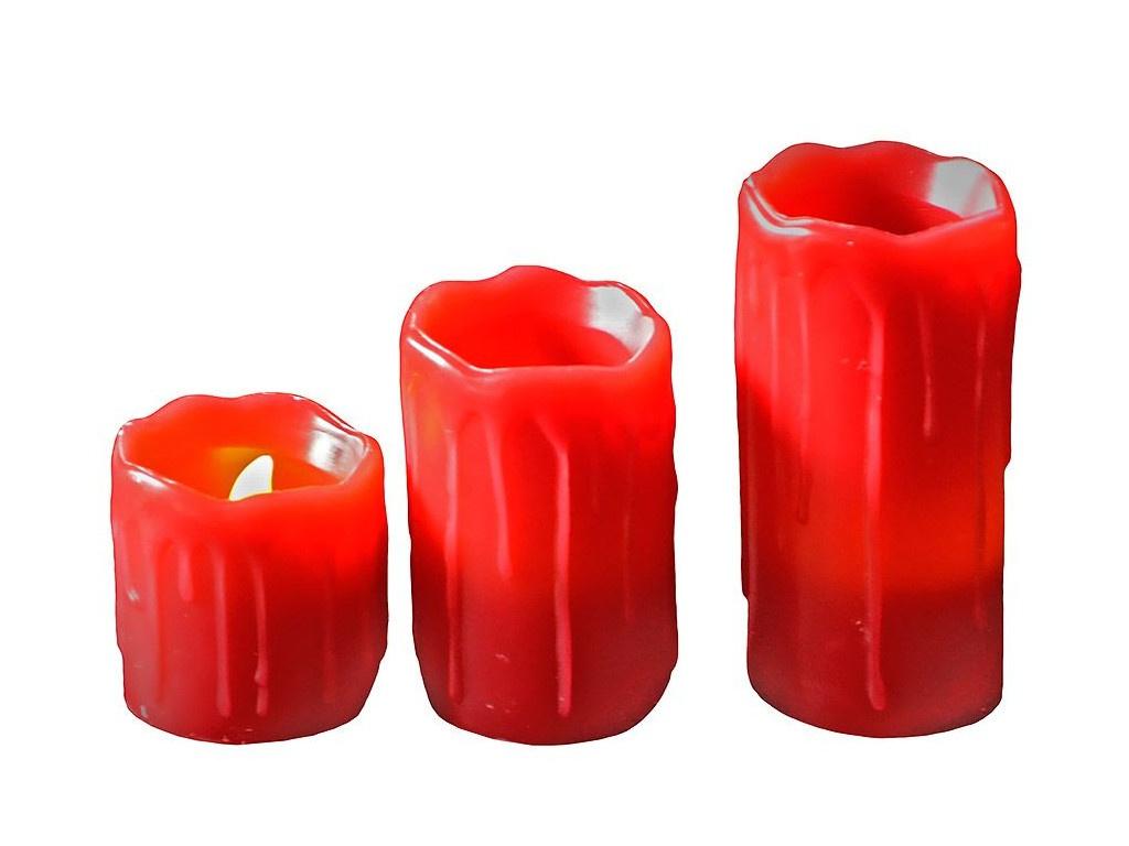 Светодиодная свеча Edelman Оплавленная 3шт Red 372666
