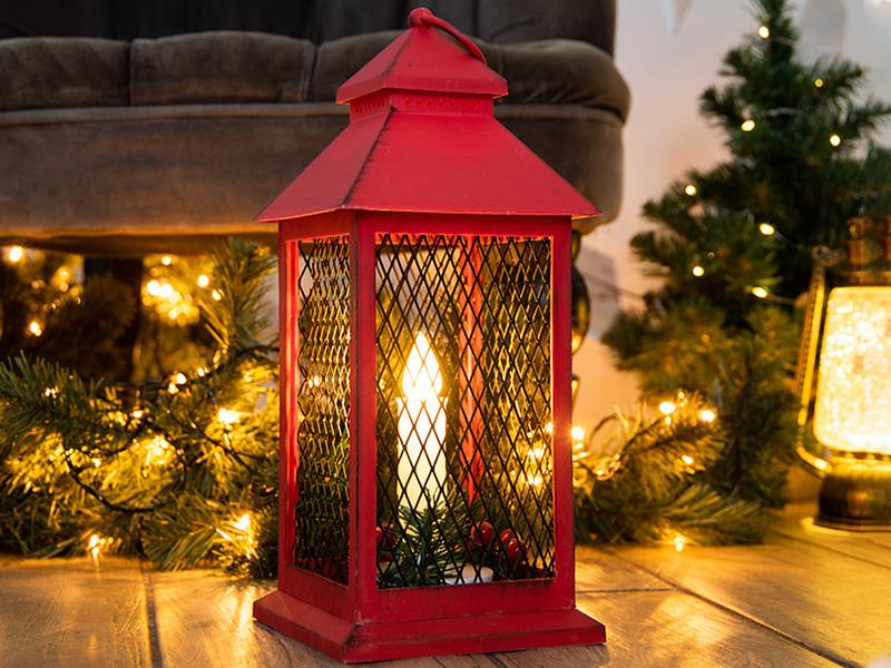 Светящееся украшение Neon-Night Фонарь со свечкой 13.5х13.5х30.5cm Red 513-041
