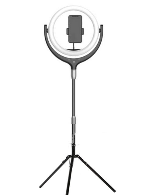 LED лампа-кольцо Optmobilion F-539B Black со штативом
