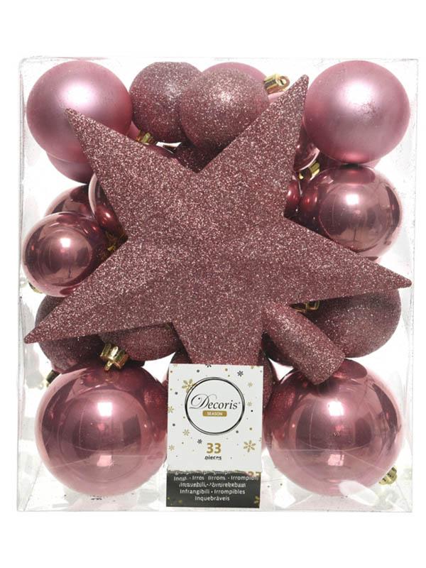 Украшение Kaemingk Набор украшений Новогодний Pink Velvet 33шт 023447