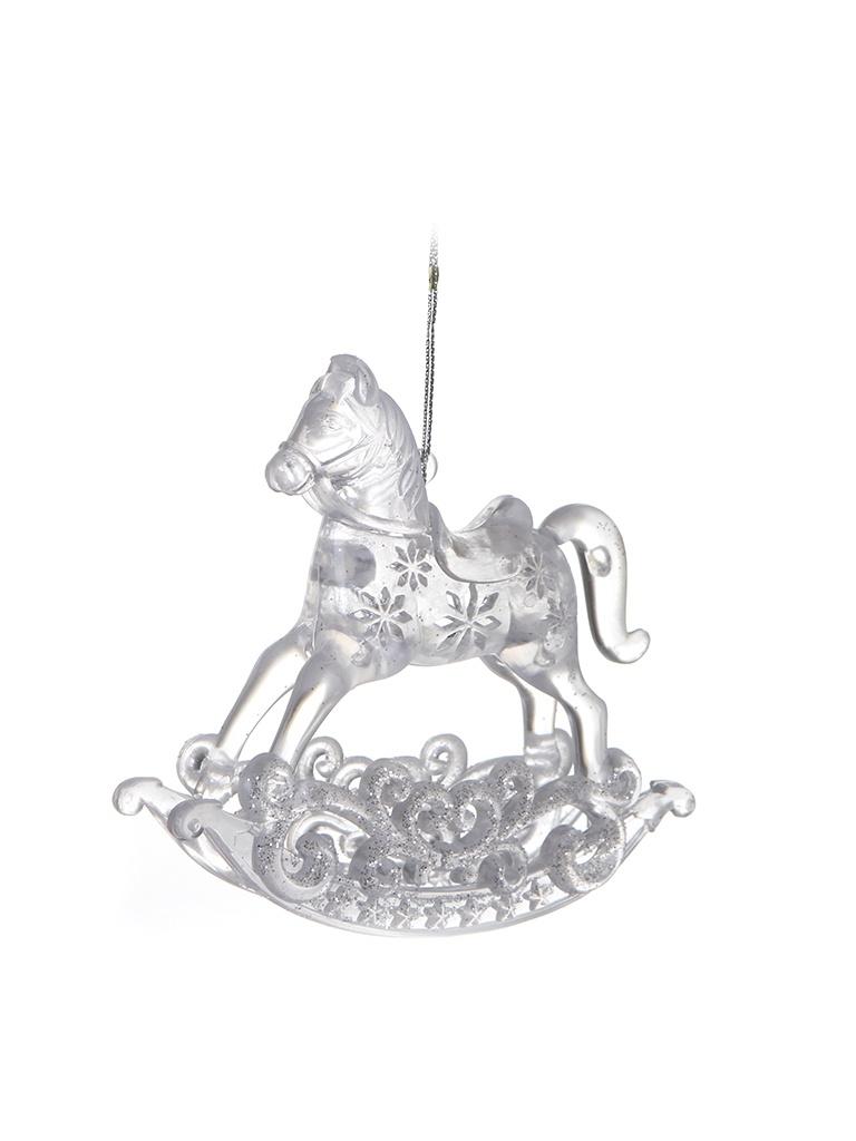 Елочная игрушка Crystal Deco Лошадка-качалка 11cm Silver 151090