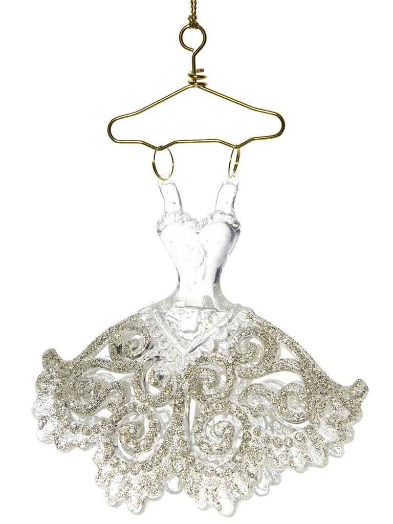 Украшение Crystal Deco Ажурное платье 12cm Silver-Gold 150048