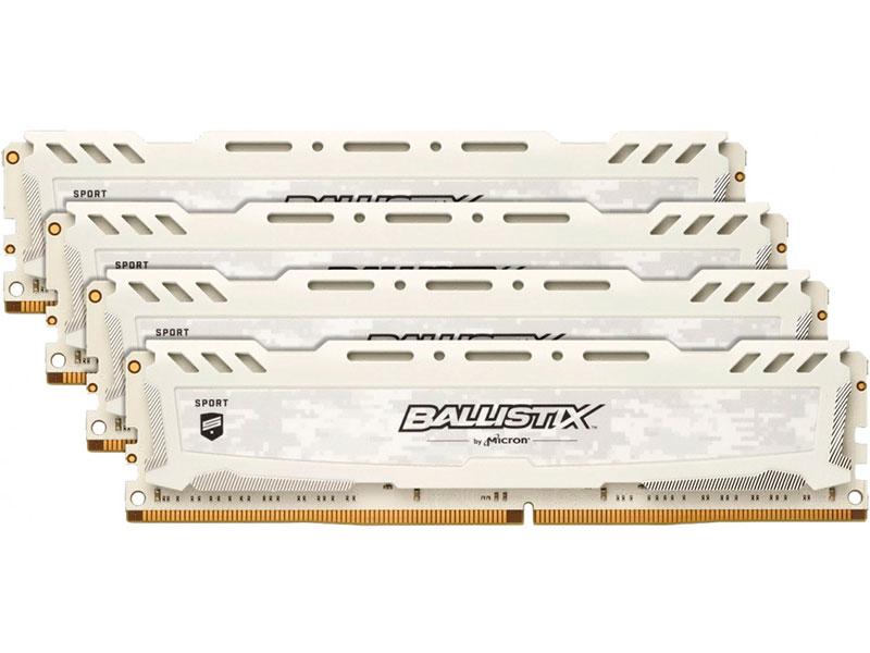 Модуль памяти Crucial Ballistix Sport LT White DDR4 UDIMM 2666MHz PC4-21300 CL16 - 16Gb Kit (4x4Gb) BLS4K4G4D26BFSC