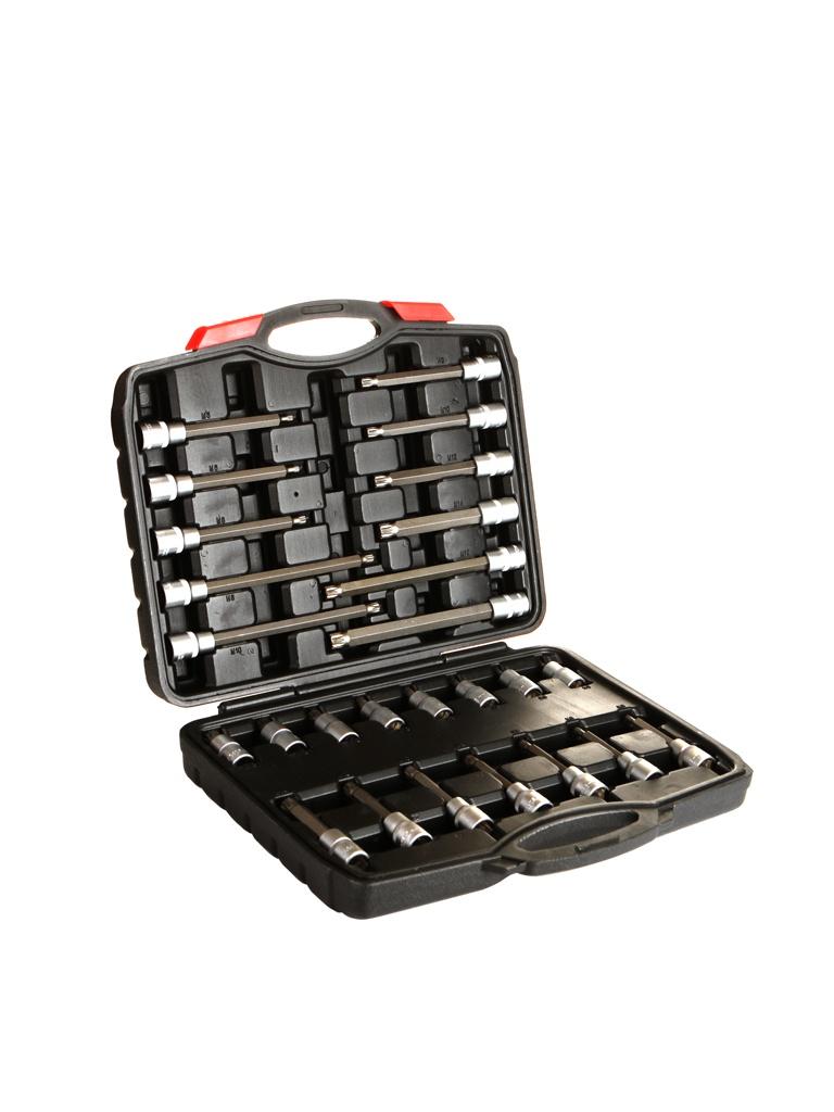 Инструмент Набор головок со вставками AV Steel Spline M5-M16 L55-200mm 26 предметов AV-921066 инструмент набор съемников av steel с 3 захватами и обратным молотком av 921061