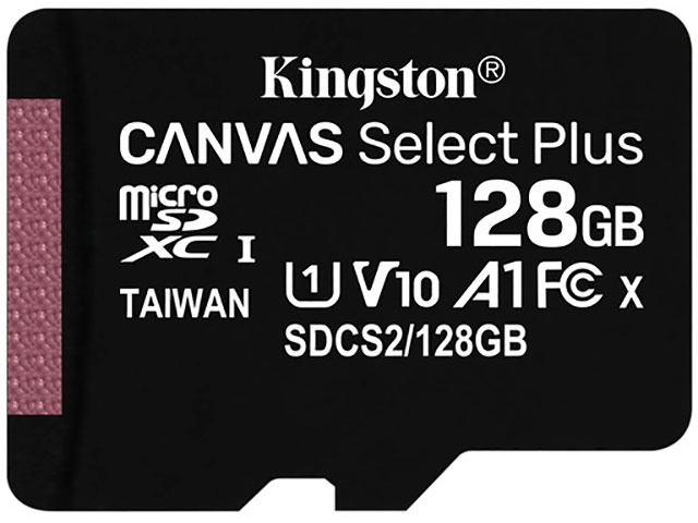Карта памяти 128Gb - Kingston Micro Secure Digital HC Class10 UHS-I Canvas Select SDCS2/128GBSP