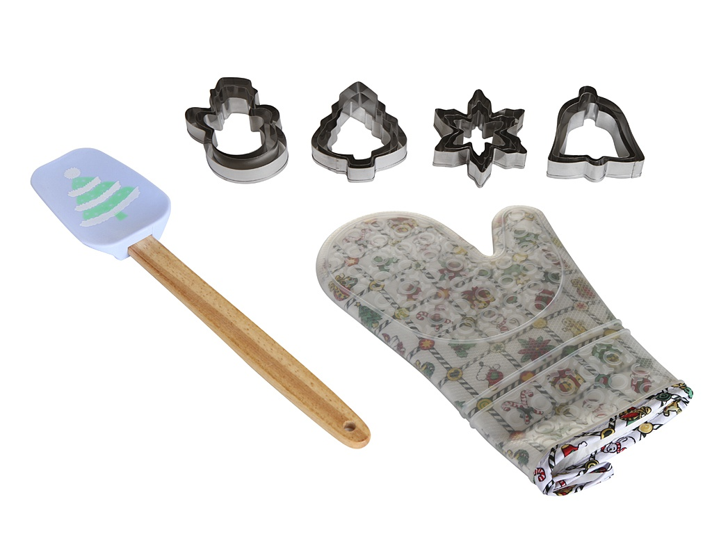 Набор Доляна Ёлочка - набор форм для печенья 12шт + прихватка лопатка 4619619