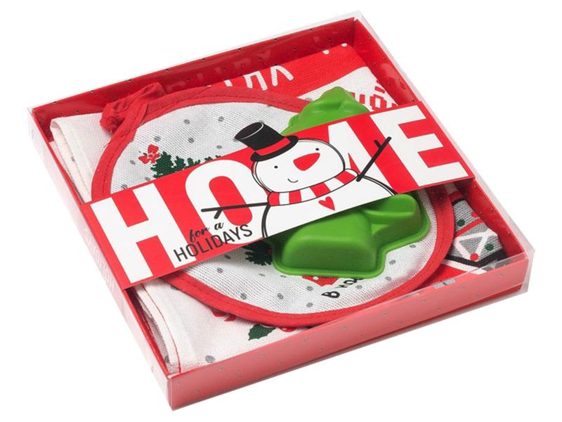 Набор Доляна Holidays - полотенце 64х40cm + прихватка силиконовая форма 4450923