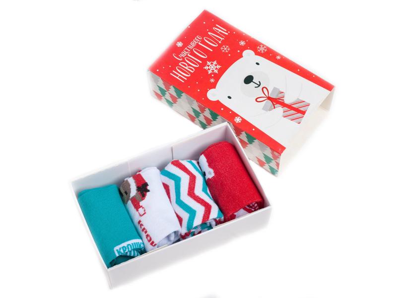 Набор детских носков Крошка Я Маленький Санта р.8-10