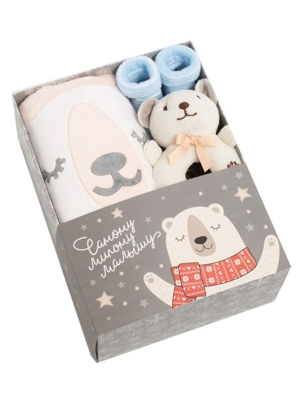 Набор Крошка Я Мишка - плед 90х100cm + игрушка носки 0-12мес 4589259