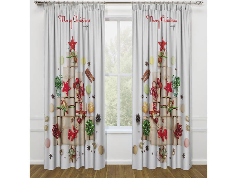 Комплект штор Стильный дом Елка из подарков 145x260cm 2шт 3803429