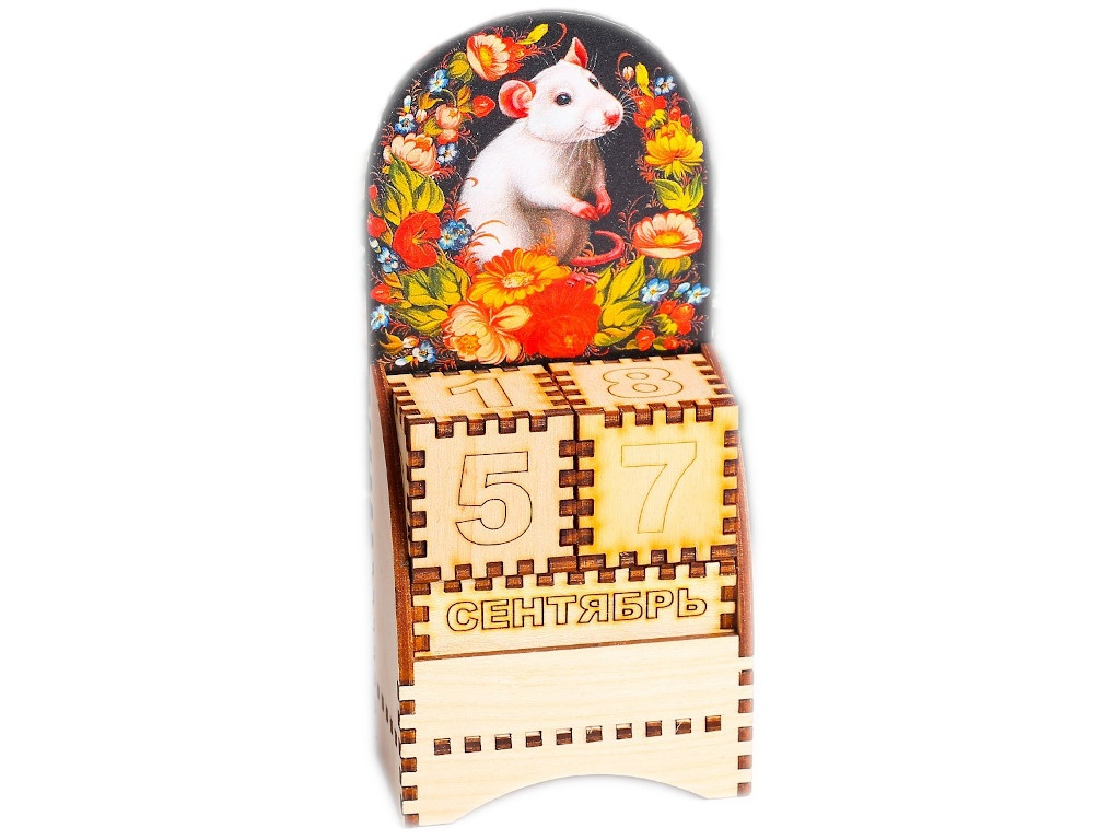 Вечный календарь СИМА-ЛЕНД Крыска в цветах 5x7x13.5cm 4425307