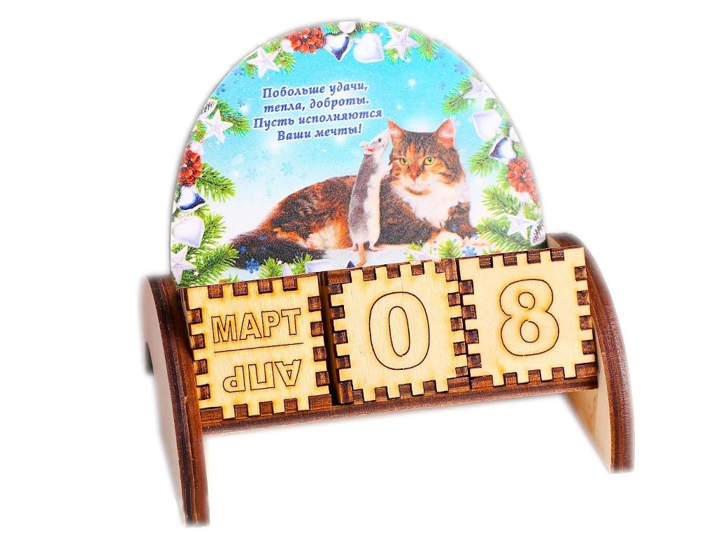 Вечный календарь СИМА-ЛЕНД Крыса с котом Побольше удачи! 5x10.5x10x5cm 4425317