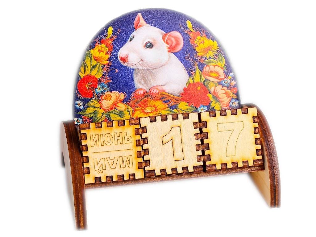 Вечный календарь СИМА-ЛЕНД Крыска в цветах 5x10.5x10x5cm 4425326