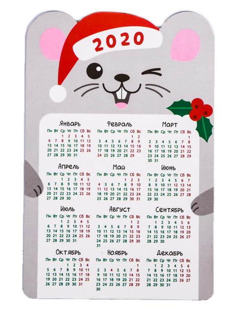 Магнит календарь Зимнее волшебство Серая мышка 8x12cm 4161870
