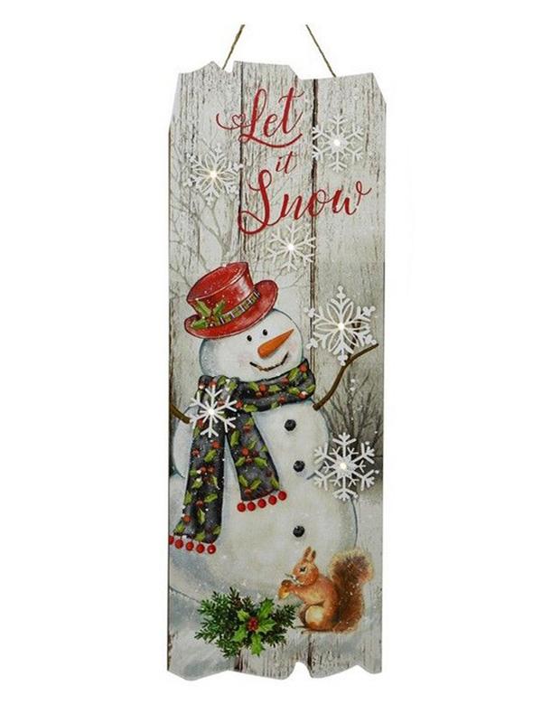 Светящееся украшение Kaemingk Панно Christmas Time Снеговик 480168