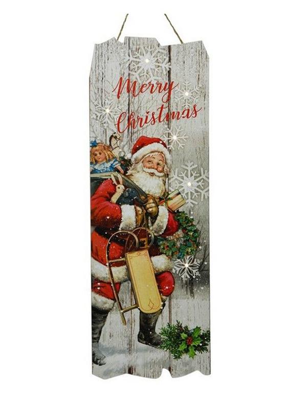 Светящееся украшение Kaemingk Панно Christmas Time Санта 480168