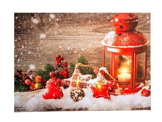 Светящееся украшение Koopman International Панно Фонарь и звезды - композиция в красных тонах ANB000010-2