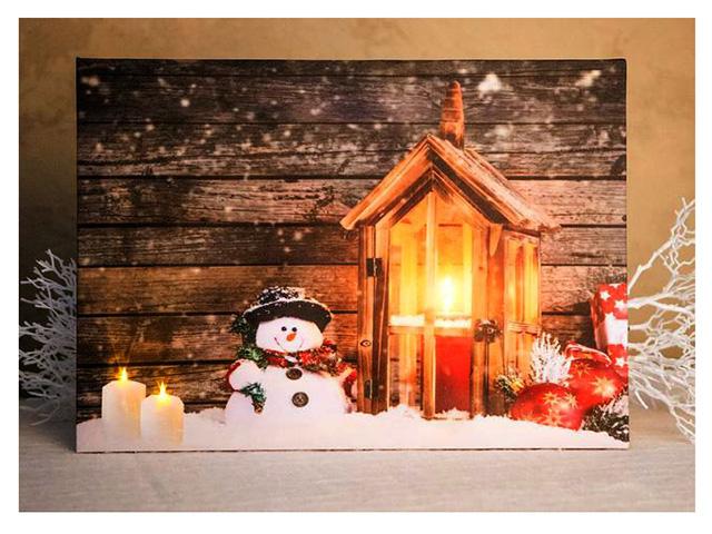 Светящееся украшение Koopman International Панно Фонарик - Домик для снеговичка ANB000010-3