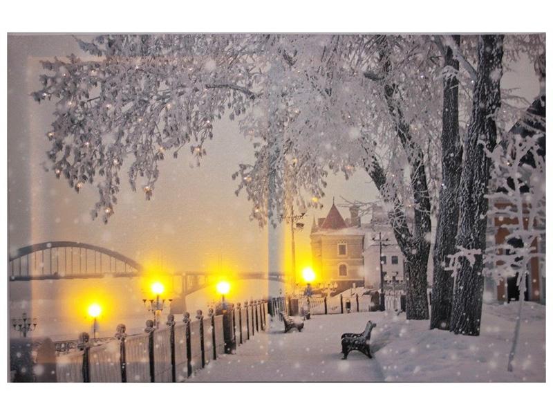 Светящееся украшение Kaemingk Панно Романтика зимнего вечера Набережная 483184