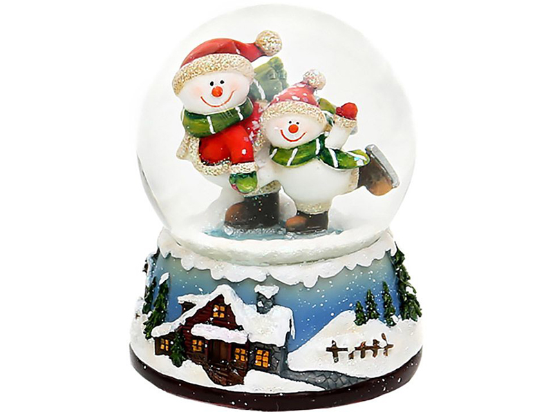 Снежный шар Sigro Снеговики на коньках 50-0560
