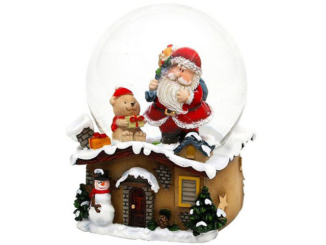 Снежный шар Sigro Санта у дымохода - Мишка 50-1473