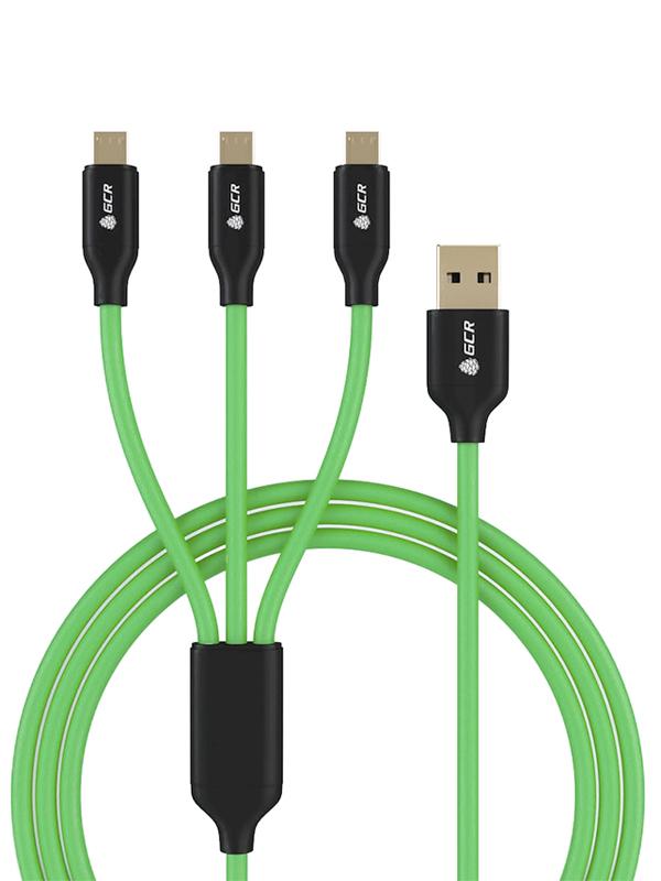 Аксессуар Greenconnect 3в1 USB - 2х MicroUSB/Type-C 1.0m 3A No Sync Data GCR-51556