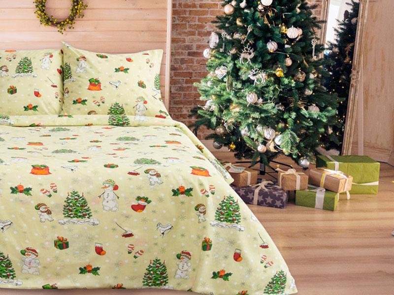 Постельное белье La Marka Home Комплект 1.5 спальный Бязь Новый год Pistachio 3718861