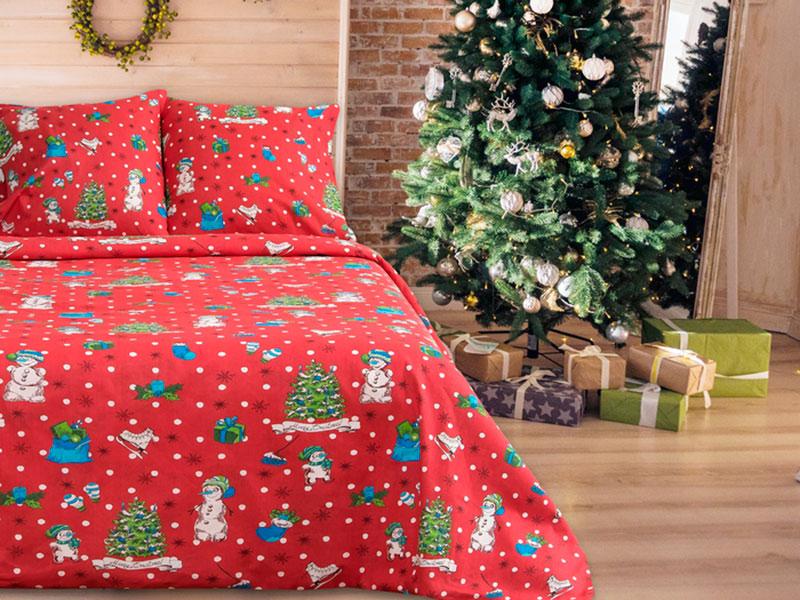 Постельное белье La Marka Home Комплект 1.5 спальный Бязь Новый год Red 3718860