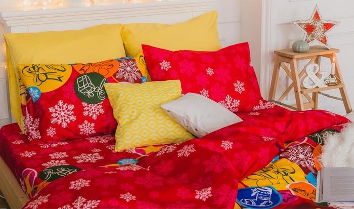 Постельное белье Экономь и Я Новогодниие подарки комплект 2 спальный Микрофайбер 3921059