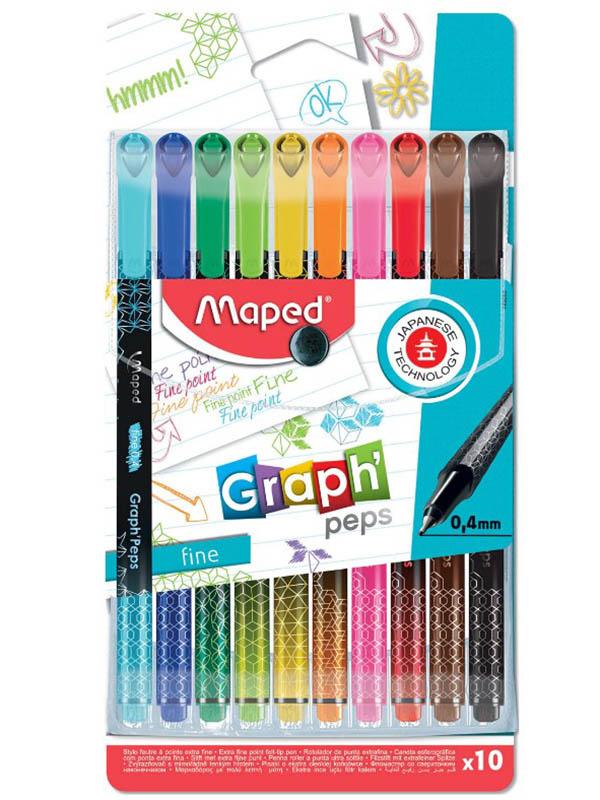Набор капиллярных ручек Maped Graph Peps 0.4mm 10 цветов 749050
