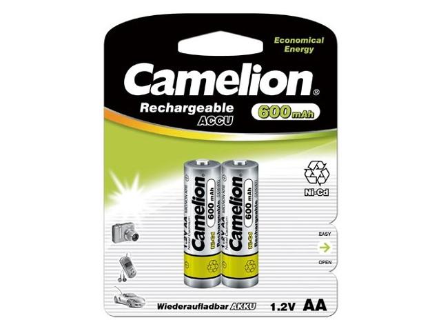 Аккумулятор AA - Camelion 1.2V 600mAh Ni-Cd BL-2 NC-AA600BP2 (2 штуки) 1657