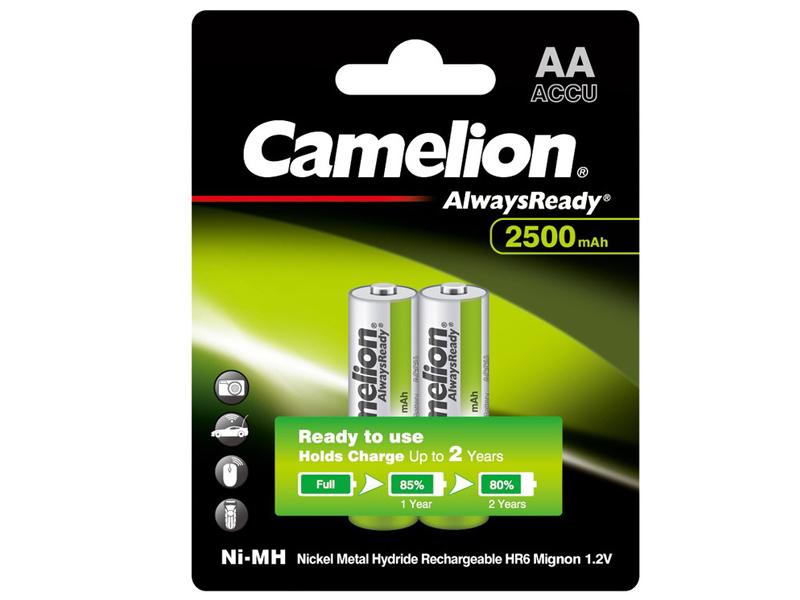 Аккумулятор AA - Camelion Always Ready 1.2V 2500mAh Ni-Mh BL-2 NH-AA2500ARBP2 (2 штуки) 11006