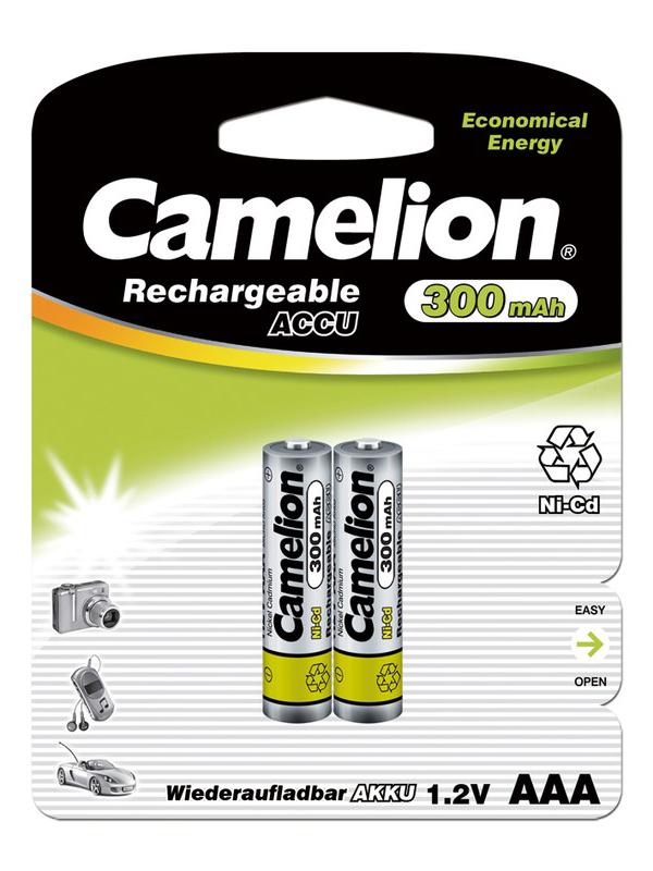 Аккумулятор AAA - Camelion 1.2V 300mAh Ni-Cd BL-2 NC-AAA300BP2 (2 штуки) 3144