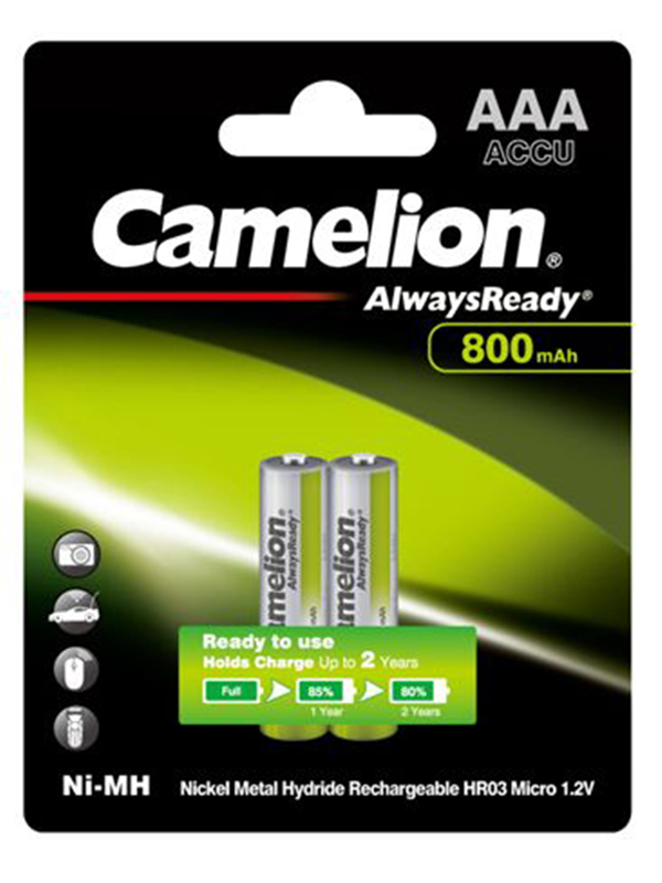 Аккумулятор AAA - Camelion Always Ready 1.2V 800mAh Ni-Mh BL-2 NH-AAA800ARBP2 (2 штуки) 7965