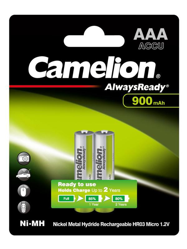 Аккумулятор AAA - Camelion Always Ready 1.2V 900mAh Ni-Mh BL-2 NH-AAA900ARBP2 (2 штуки) 9165