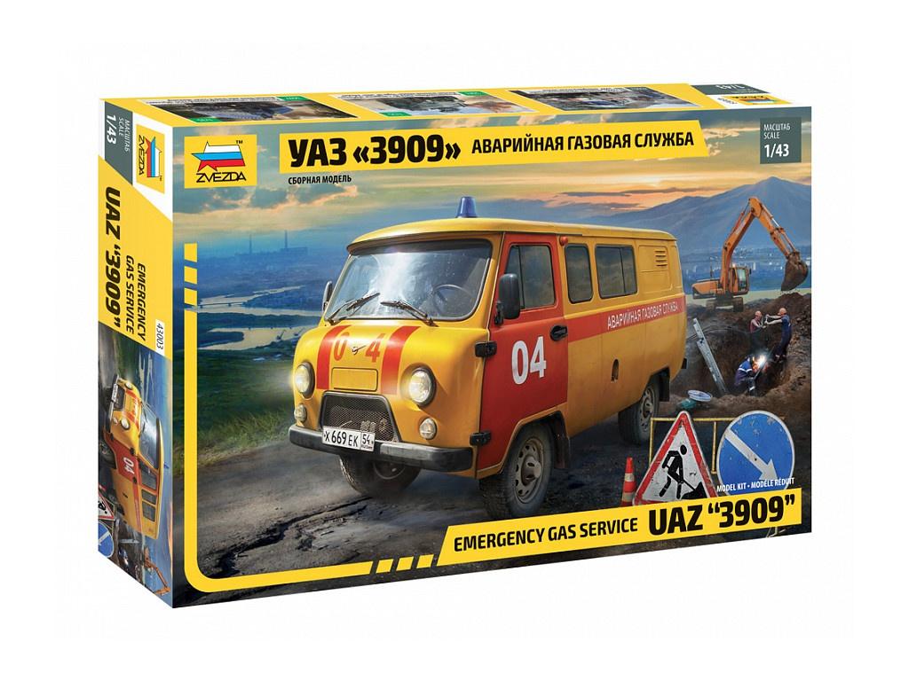 Сборная модель Zvezda УАЗ-3909 Аварийная газовая служба 43003
