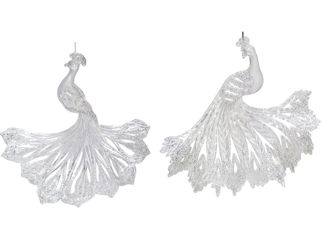 Украшение Crystal Deco Павлин 12cm Silver 150024