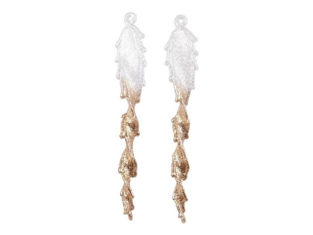Набор сосулек Kaemingk Витые перья 23cm Transparent-White-Gold 164981/515493