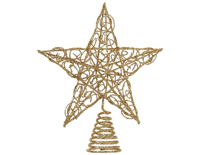 Украшение Kurt S. Adler Ёлочная верхушка Звезда Ажурная 15cm Gold H1237