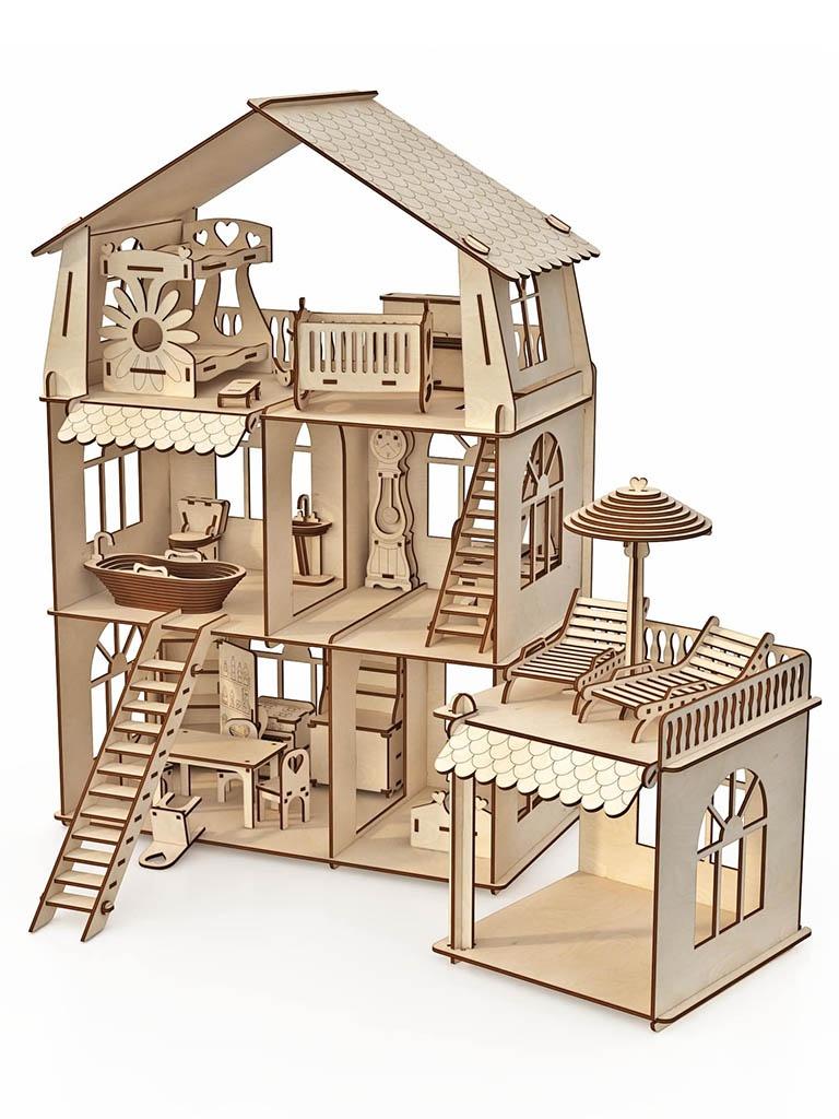 Сборная модель ХэппиДом Коттедж с пристройкой и мебелью Premium HK-D011